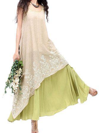 Women Elegant Lace Embroidery Linen High Low Maxi Dress
