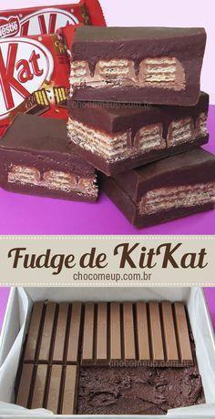Receita de fudge de KitKat. São quadradinhos de chocolate super macios recheados com muito KitKat. Um doce super fácil e rápido de fazer. Você pode rechear com o bombom que quiser: Sonho de Valsa, Serenata de Amor, Ouro Branco, Bis. #receita #chocolate #kitkat #fudge #receitadefudge #receitacomkitkat #sobremesa #doce #receitafácil #receitarápida