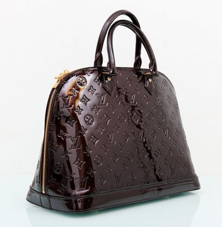 Сумка Louis Vuitton Alma GM натуральная лакированная кожа, бордовый цвет с монограммами 39х29х19см #18506