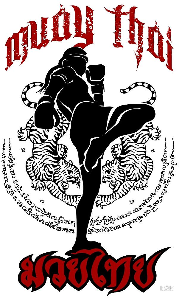 muay thai kick thailand martial art sport logo badge sticker shirt by lu2k