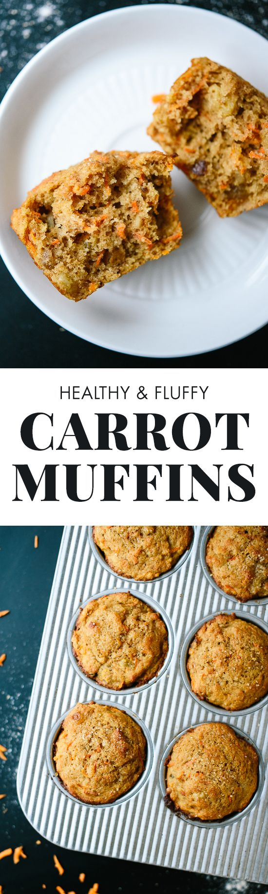 This healthy carrot muffins recipe tastes amazing! These are made with whole wheat flour and sweetened with maple syrup! cookieandkate.com