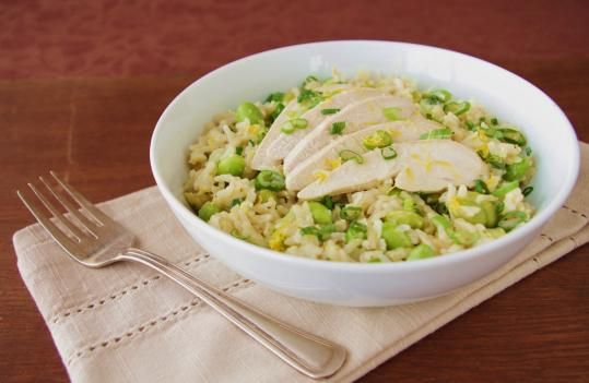 Recipe for poached chicken and brown rice salad with lemon vinaigrette - The Boston Globe