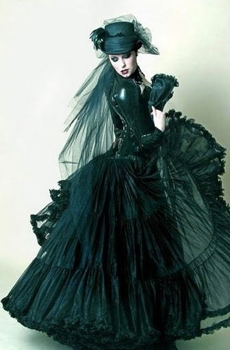 Victorian Halloween ideas - 2013 hoop skirt hunter green gown veiled hat, corset top