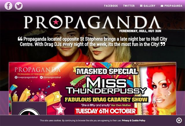 Propaganda by day brings 'Cafe Culture' to Hull City Centre with a full menu of exquisite dishes. Propaganda by night is one of the top late night destinations in Hull and it becomes a SAFE, FUN, FLIRTATIOUS LATE NIGHT CLUB-BAR with the perfect atmosphere