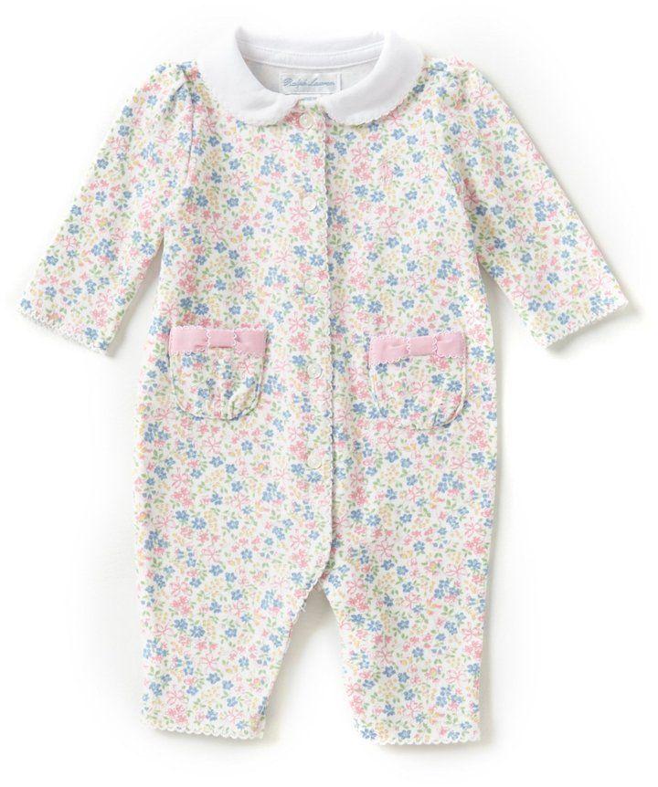 f024b1fe2 Ralph Lauren Baby Girls Newborn-12 Months Floral Coveralls #babypajamas