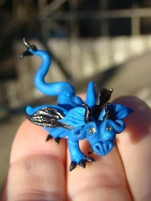 OOAK Tiny Dragon Fairy Pet Fantasy Polymer Clay Miniature Sculpted Art Doll