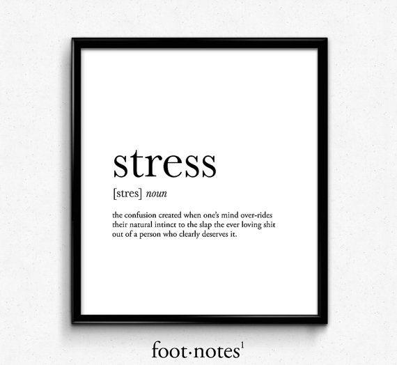 Stress definition college dorm girl dictionary art