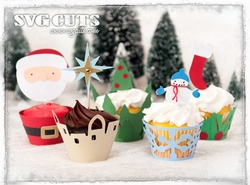 Christmas Cupcake Wrappers SVG KitCupcake Wrappers, Svg Kits, Svgcuts Com, Wrappers Svg, Silhouettes Ideas, Wrappers Cupcakes, Cupcakes Wrappers, Christmas Cupcakes, Svg Cut