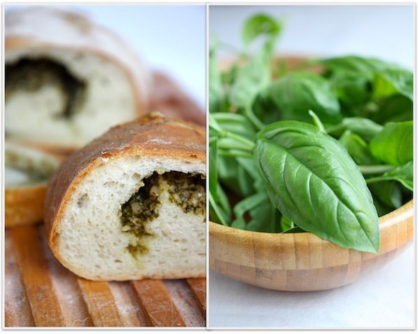 Holy Cow - Yum. Pesto bread. Must make while the basil is still springing up everywhere in the backyard.