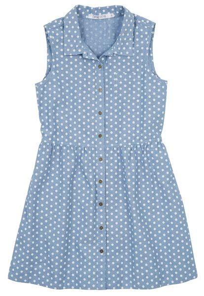 Made from 100% cotton this cool sleeveless girls chambray dress from Farmers is $39.99 and is available up to age 14