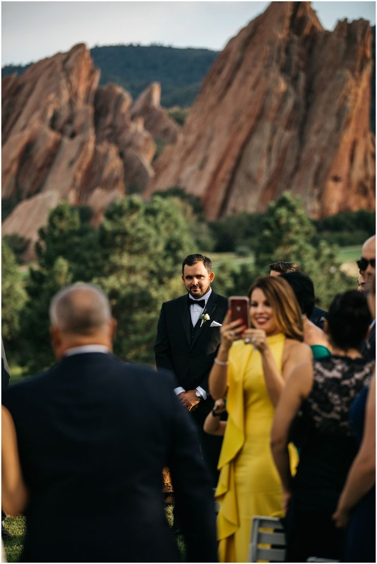 First look during the ceremony, Grooms reaction to bride coming down the aisle, Arrowhead Golf Club Wedding Photos, Colorado Wedding Photographer