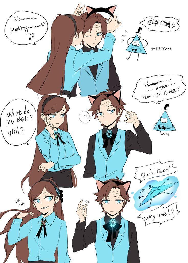 Mabel, Dipper, and Bill - Reverse Falls AU