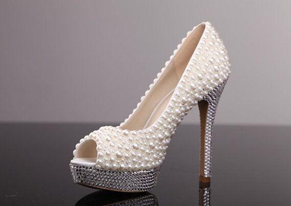 Luxury Pearl Wedding Shoes Bling Bridal Custom Women High Heels Party