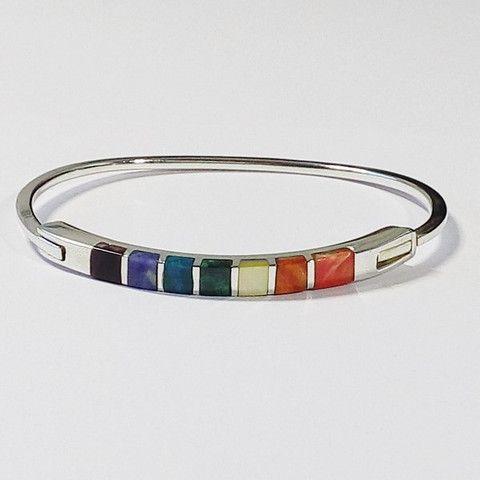 bracelet jonc large incrusté de pierres fines naturelles en argent 950
