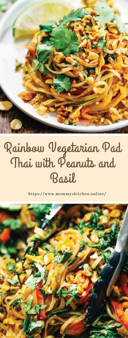 Rainbow Vegetarian Pad Thai with Peanuts and Basil #vegan #recipe