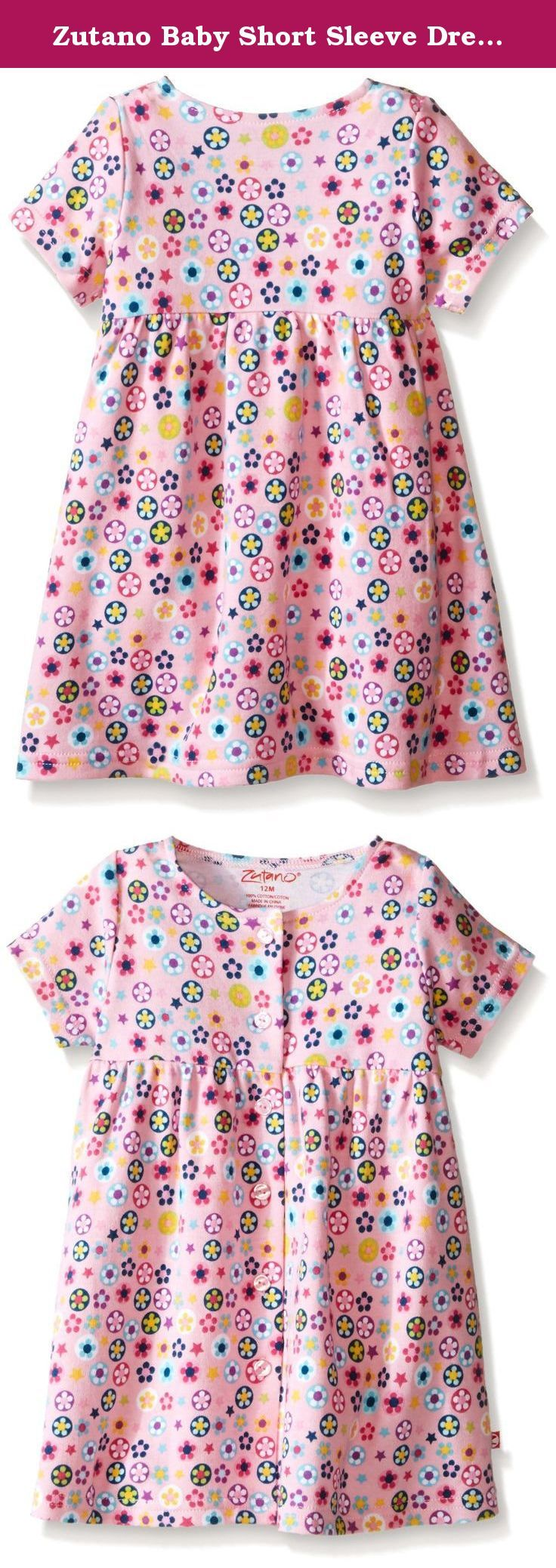 Zutano Baby Short Sleeve Dress, Flower Shower, 6 Months. Our short sleeve, cute-as-a-button dress is a definite must-have for every wardrobe. Made with our wonderfully soft, 100 percent cotton fabric, this dress looks great on the playground or sitting for sunday brunch. Perfect for season-to-season transitions too. Just pair it with a cozy fleece jacket and tights and you're ready for blustery winter weather.