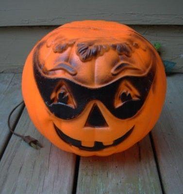 Vintage Halloween plastic pumpkin jack o latern blow mold light decoration | #351138894