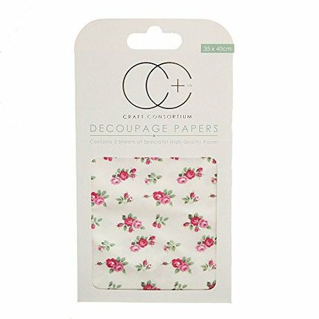 Craft Consortium Decoupage Printed Paper Pack of 3 - 272 Tossed Roses White