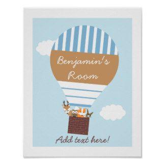 Kids Brown And Blue Hot Air Ballon Poster