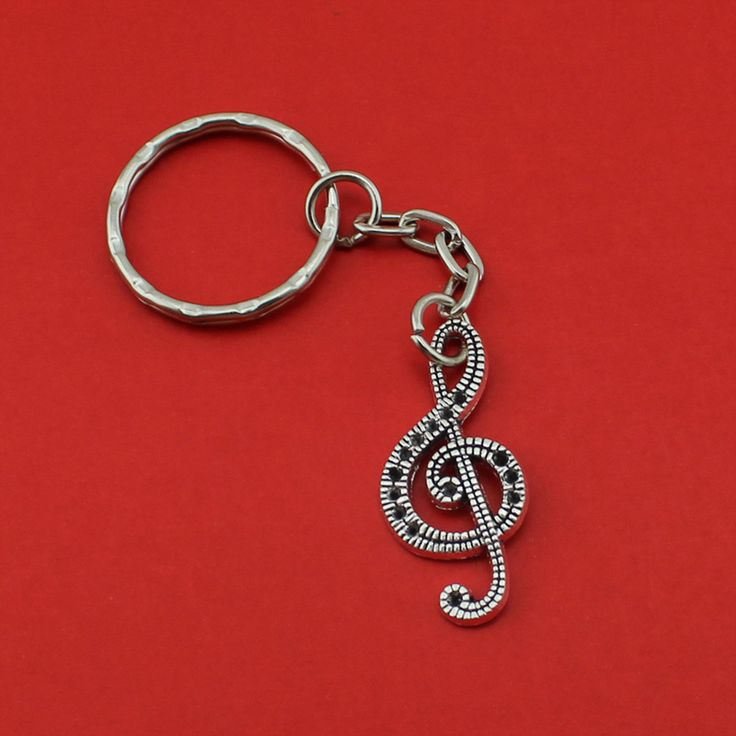 2017 New Hot Selling Women/Men's Fashion Handmade Vintage Silver Music Note Key Chains Key Rings Alloy Charms Gifts YSDY202