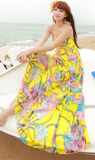 Flowing long beach dress yellow