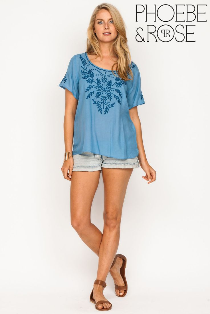 Pippa Plain Top in Blue is perfect for Hot Summer Days, now on SALE for $47.95.. https://goo.gl/h3in2r