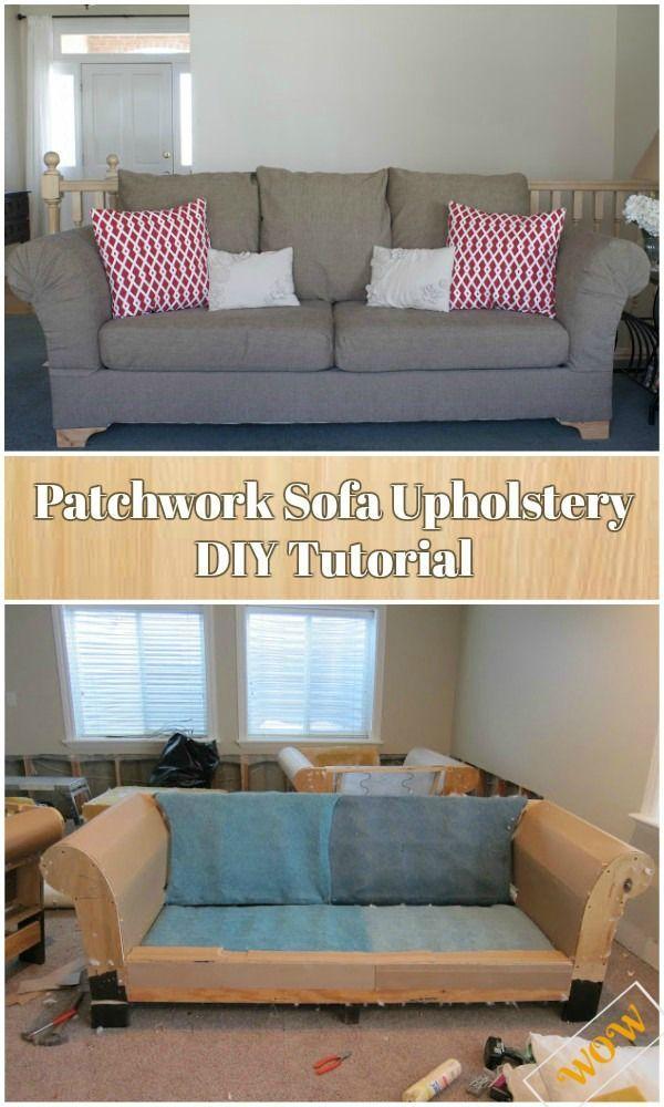 Diy Patchwork Sofa Upholstery Tutorial Video Guide Patchwork Sofa Sofa Upholstery Upholstered Sofa