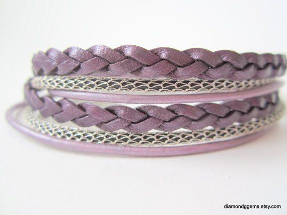 Purple Silver Leather Bracelet Multistrand Double Wrap Leather Bracelet Silver Magnetic Clasp SilverSilk Flat Braided Round Cord OOAK 2x