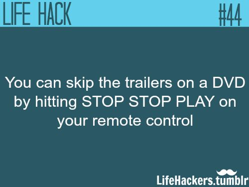 "How to skip trailers on a DVD More life hacks at ""Life hackers"""