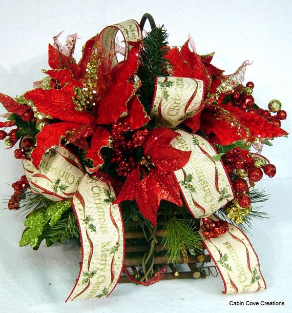 Traditional Poinsettia Centerpiece red gold Floral Arrangement Country Elegance Merry Christmas ribbon by Cabin Cove Creations cabincovecreations