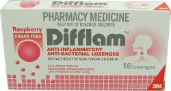 Difflam Throat Lozenges provide fast relief from Sore Throat and Mouth.    Difflam Lozenges have an anti-inflammatory action to provide effective relief of the symptoms of Sore Throats and Mouths.     They also contain an Anti-bacterial agent and are useful to provide temporary relief from the symptoms of Sore Throats, Tonsillitis, Pharyngitis, Mouth Ulcers, Local pain following Mouth or Throat surgery and pain following Dental procedures.