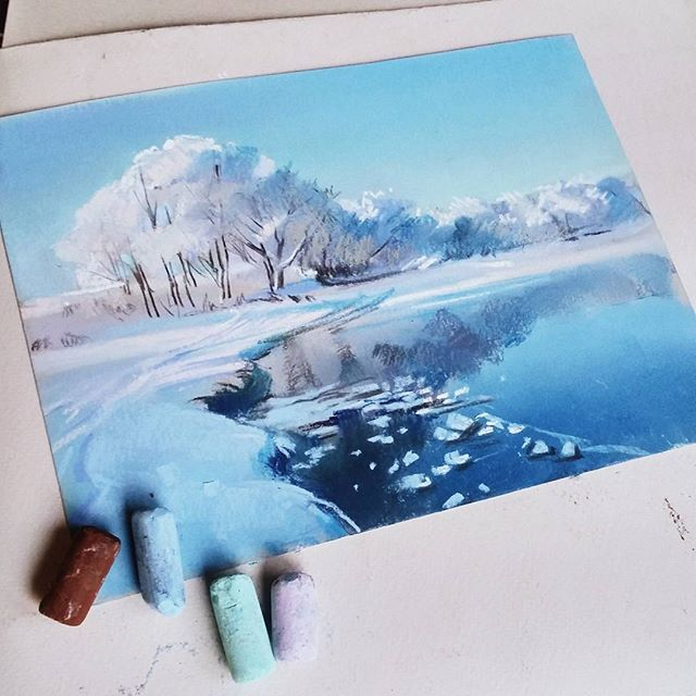 <-Oil pastel winter themed painting->