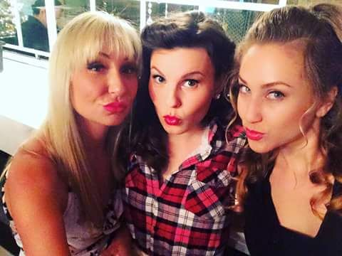 Katya, Erin & Anna prepping for a private Christmas Party performance