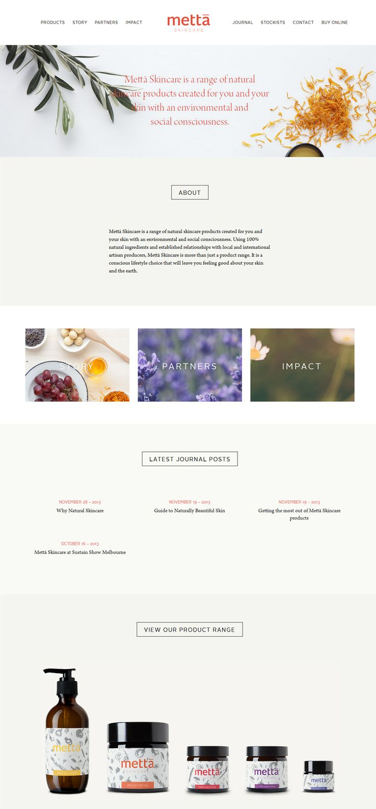 Metta Natural Skin Care Products - Nice minimal and clean colours. #webdesign #layout #design