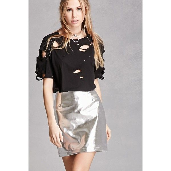 Forever21 Kikiriki Faux Leather Skirt ($48) ❤ liked on Polyvore featuring skirts, mini skirts, silver, leather look skirt, faux leather skirts, forever 21, structured skirt and leather look mini skirt