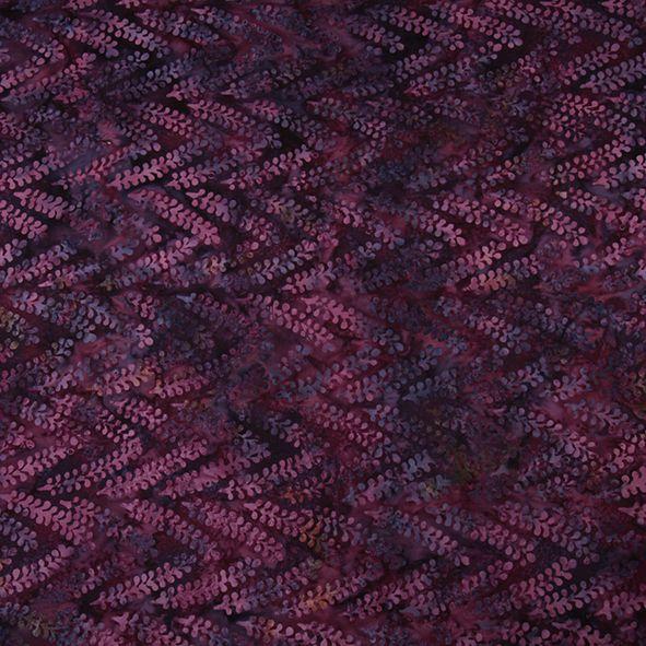 Bavlněná látka Batika Bali lístečky fialové BB