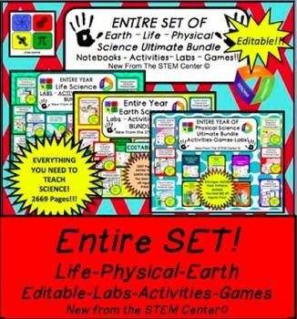 Middle School Science Physical Science Bundle + Life Science Bundle + Earth Science Bundle EDITABLE!!! - Labs, Activities, and Games Bundle! - EDITABLE!!! - YOU SAVE $$$ OFF REGULAR PRICE!!! We all agree the best part of being a teacher is teaching.