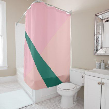 Elegant geometric pastel hot pink emerald green shower curtain - minimal gifts style template diy unique personalize design