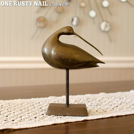 #Rustic Mid-Century Brass #Curlew #Bird Statue by OneRustyNail on #Etsy - #Vintage #Nautical #HomeDecor #Beach #Minimalist #MidCentury #MCM