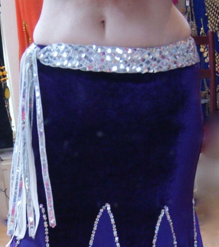 Gevlochten riem / ceintuur met pailletten versiering ZILVER - Sequinned braided belt SILVER