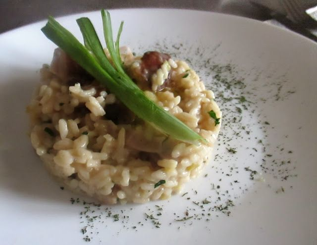 FORNELLI IN FIAMME: RISOTTO WITH GHEE, CERVERE'S LEEK AND PORCINI MUSH...