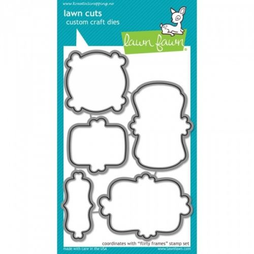 "LAWN FAWN DIES LF802 - FLIRTY FRAMES DIES fra LAWN FAWN, koordinerer med dies LF801.LAWN FAWN - Lawn Cuts Custom Craft Dies - High quality steel craft dies. Some coordinate with stamp sets for even more creative choices.These dies are made of 100% high quality steel; are compatible with most die-cutting machines; and will inspire you to create cute crafts! This set coordinates with the stamp ""FLIRTY FRAMES"" sets. Flere spennende produkter fra denne leverandøren finner du her eller kli..."