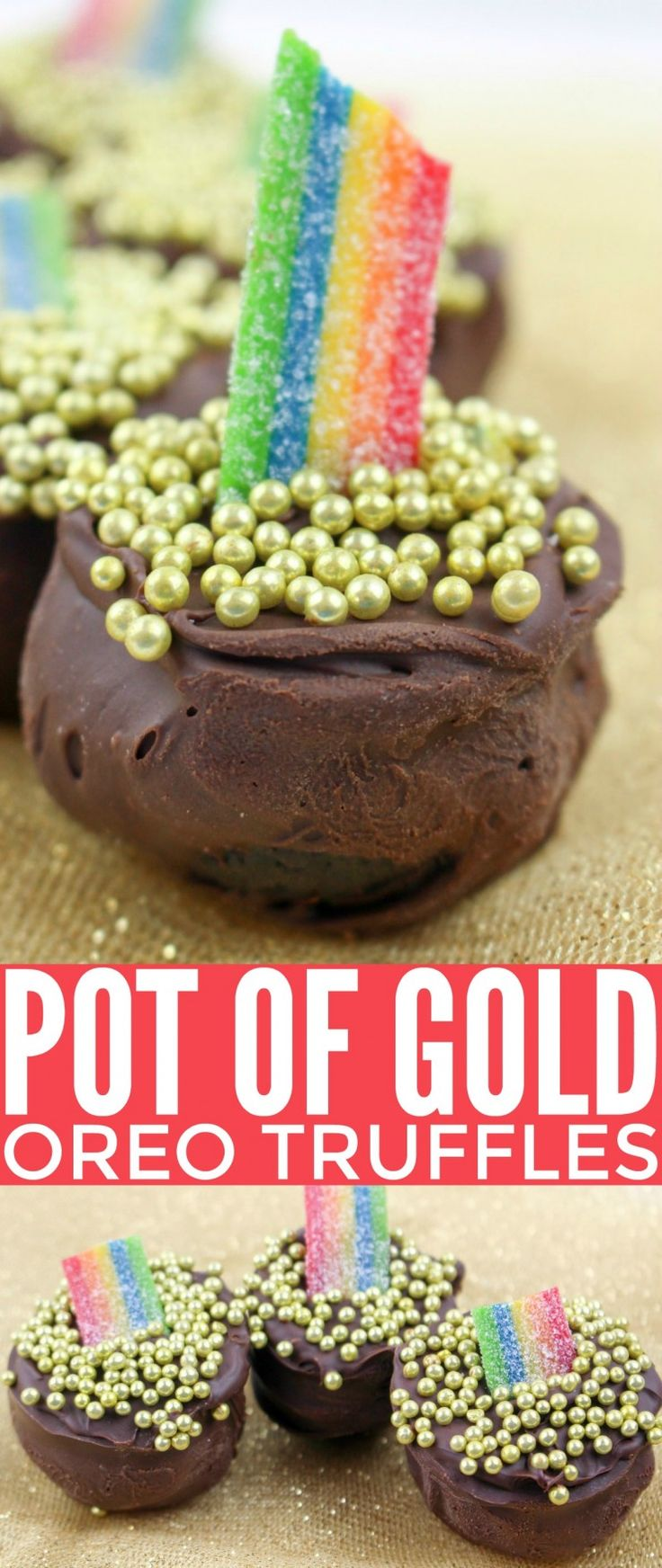 These Pot Of Gold Oreo Truffles are an adorable St. Patrick's Day treat. Featuring an oreo cheesecake centre and enrobed with chocolate, these adorable truffles are sure to be a hit.