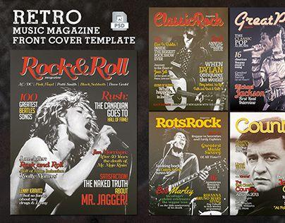 Retro Music Magazine Front Cover Template