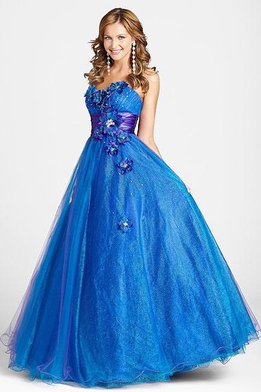 Blue grad dress with blue flowers