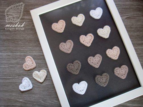 Valentine's day crochet heart decoration http://meskok.hu/termekek/horgolt/valentin-napi-szives-kep/
