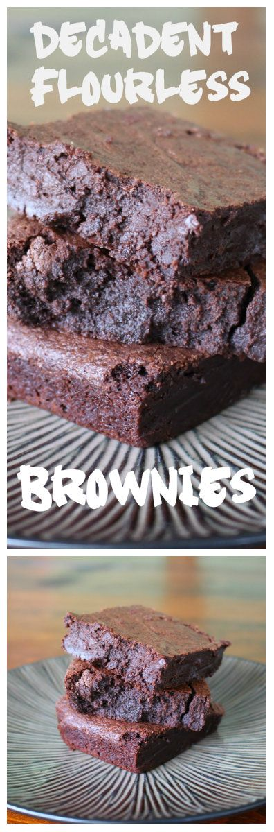 Made with absolutely no flour, these brownies are made with pure, natural cocoa powder!  They are intensely chocolatey and fudgy.  Follow Recipe for Perfection for more great recipes!