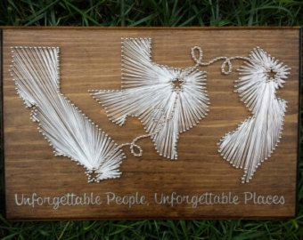 Three State String Art with Hand Painted by ThreadbareArts on Etsy