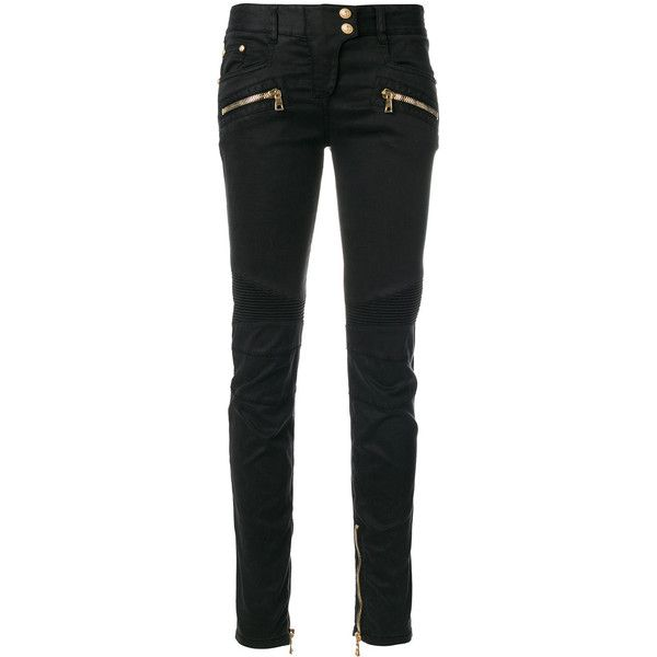 Balmain skinny biker jeans (1 153 215 LBP) ❤ liked on Polyvore featuring jeans, black, bottoms, super skinny jeans, embellish biker jeans, skinny leg jeans, balmain jeans and skinny fit jeans