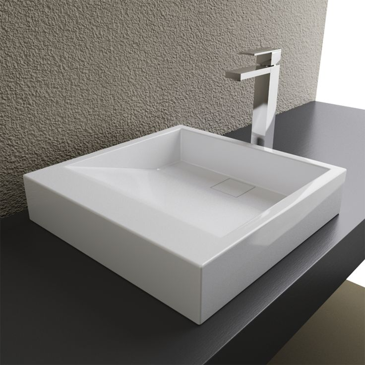 Cantrio Solid Surface Modern Top Mount Bathroom Sink Mma